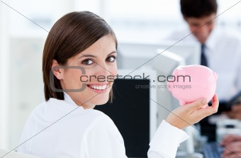 Smiling businesswoman working