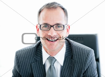 Portrait of an attractive businessman wearing googles