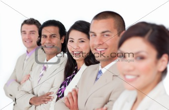 Presentation of a business team lining up