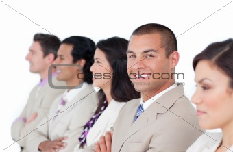 Charming businessman and his team lining up