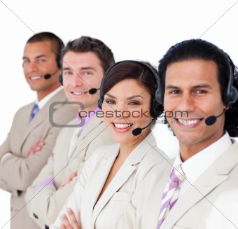 Smiling business team lining up with headset on