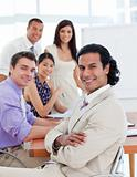 Self-assured businessman in a meeting