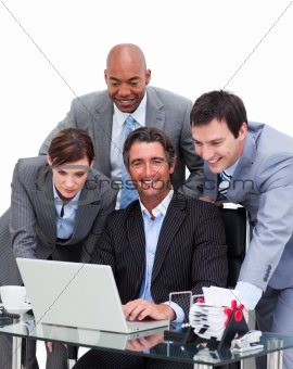 United business team working at a computer