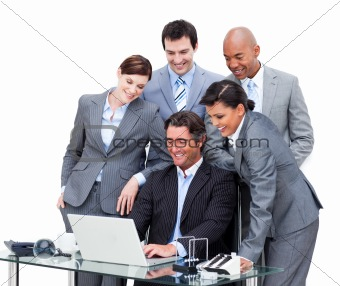 International business team interacting to each other