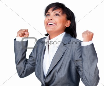 Successful businesswoman with open hands