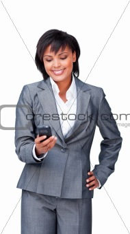 Attractive businesswoman on phone