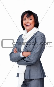 Portrait of an attractive businesswoman wearing a white scarf