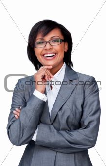 Attractive hispanic businesswoman wearing glasses