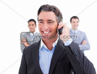 Charismatic businessman talking on phone