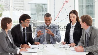 Multi-ethnic business team discussing a new strategy