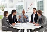 A diverse business group discussing a budget plan