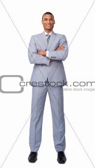 Assertive businessman on phone