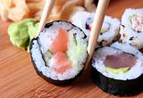 sushi and chopsticks close-up
