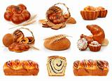 set fresh breads with corn and sweet cakes