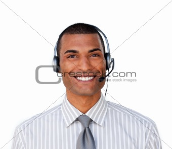 Attractive ethnic businessman with headset on
