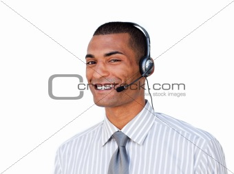 Attractive businessman with headset on