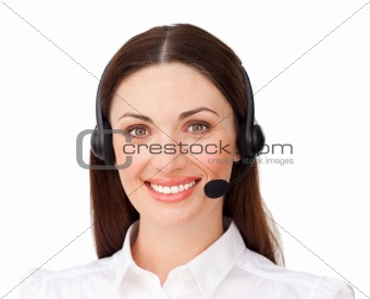 Positive customer service agent using headset
