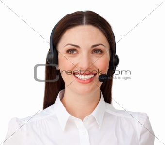 Smiling attractive businesswoman with headset on