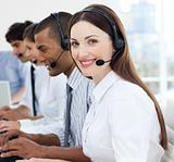 Multi-ethnic business team working in a call center