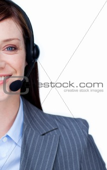 Beautiful customer service agent with headset on