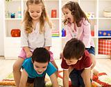 Kids having fun in their room