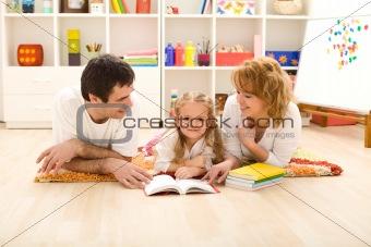 Little girl practice reading