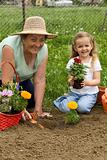 Grandmother teaching little girl gardening