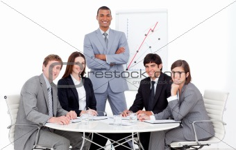Charming manager giving a presentation