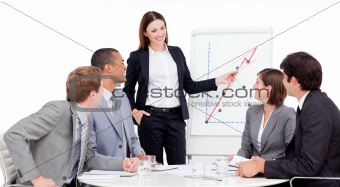 Assertive businesswoman giving a presentation