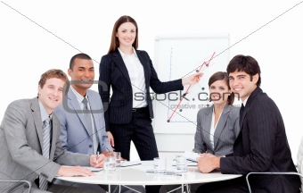 Charismatic manager giving a presentation