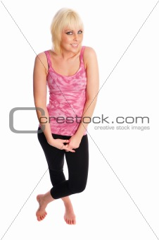 attractive young blonde woman on a  white background