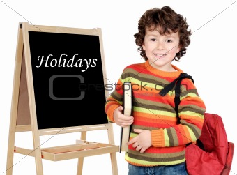 Adorable child with slate