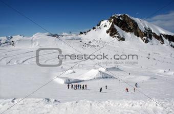 Alpine skiers landscape