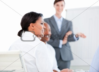Portrait of a confident businesswoman at a presentation