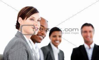 Successful business team having a brainstorming against a white background