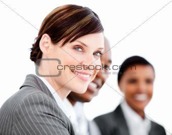 Portrait of smiling businesswoman listenning a presentation