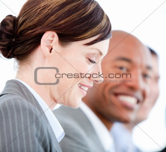 Portrait of smiling businesswoman during a presentation