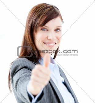 Nice businesswoman doing a thumb-up