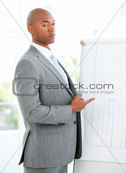 Portrait of a charismatic businessman pointing a white board