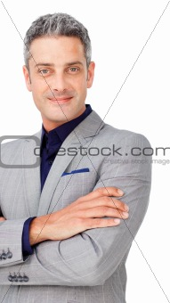 Chaming businessman with folded arms