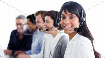 Charismatic customer service representatives with headset on