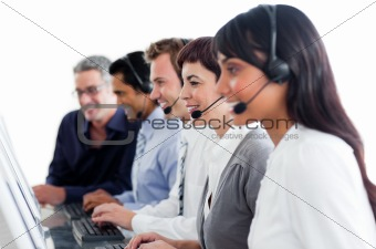 Portrait of business people working in a call center