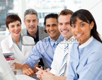 Portrait of multi-ethnic business team at work