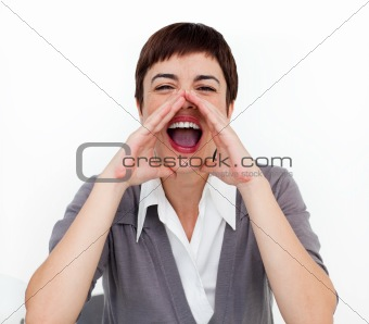 Attractive businesswoman shouting