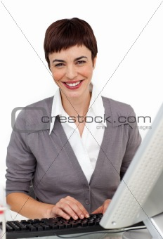 Young businesswoman working at her computer