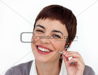 Attractive customer service representative using headset