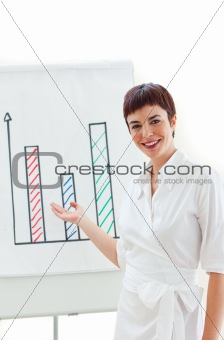 Charming businesswoman pointing at a board