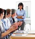 International business people clapping a good presentation