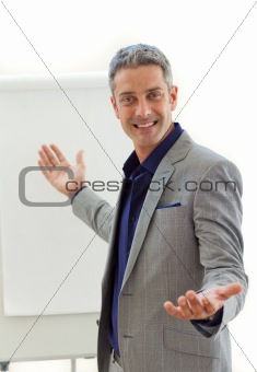 Charming businessman pointing at a board