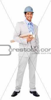 Architect wearing a hardhat and holding blueprints